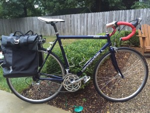 Lucy, my first road bike, now converted to a commuter bike.
